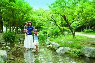 豊かな緑に囲まれる「河原遊び場」/梅小路公園