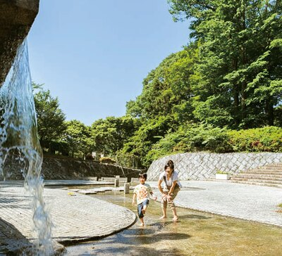 下流にある小さい滝の周辺は、園内一のひんやりスポット。水しぶきも心地いい/わんぱく王国