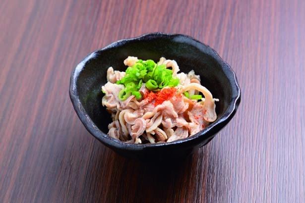 まずはスピードメニューの酢モツ(410円)を/炊き餃子 川添