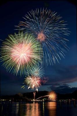 【写真を見る】さいき火まつり / 佐伯港の夜空に打ちあげられる麗しい光