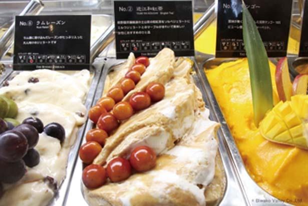 カフェでは地元産の食材を生かしたジェラートなど、さまざまなメニューがそろう/びわ湖バレイ