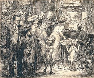 ジョン・スローン《メトロポリタン美術館での模写》1908年