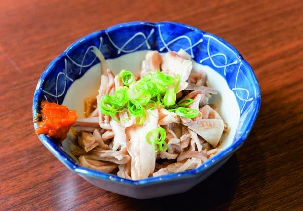 酢モツ(460円)。オリジナルの酢醤油と柚子胡椒でさっぱりと/テムジン うめきた店