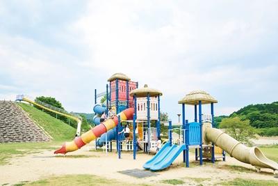 【写真を見る】「グリーンスポーツゾーン」にあるコンビネーション遊具 / あまぎ水の文化村