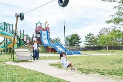 フリーフォール滑り台やターザンロープなど遊具も充実 / 干潟よか公園