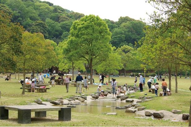 営業期間中は簡易的な日よけを設置するなど、保護者にも配慮する / 山田緑地