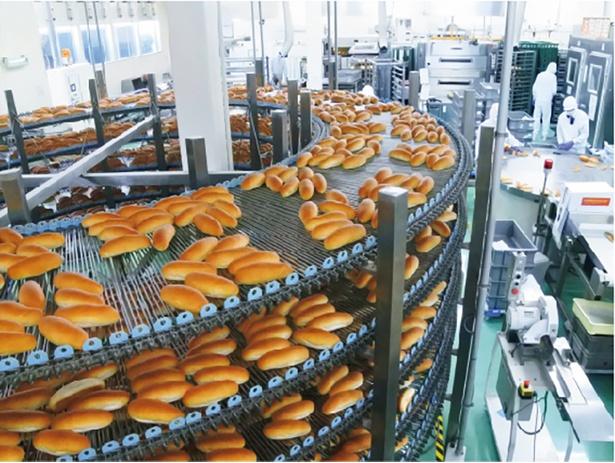 【写真を見る】製造工程はガラス越しに見学可能。巨大なベルトコンベアにのって流れてくる大量のパンの姿は迫力満点