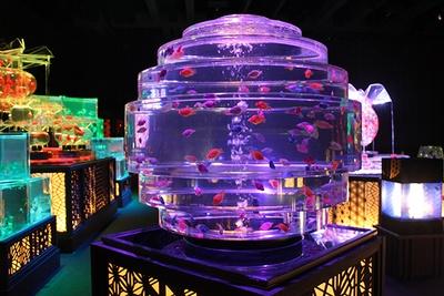 透明な多面体でプリズム効果をもたらす作品「ギヤマンリウム」
