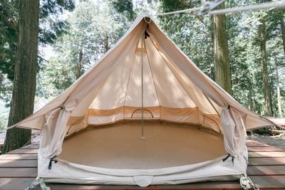 ノルディスクのなかでも特に人気の高いベル型テント「アスガルド」 / 四季の里旭志キャンプ場