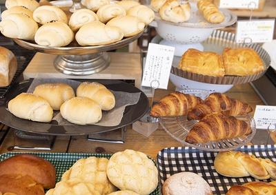 陳列台に次々に並ぶパンはどれもおいしそう
