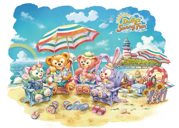 夏を楽しむダッフィー&フレンズに胸キュン!かわいいグッズも豊富に登場している「ダッフィーのサニーファン」
