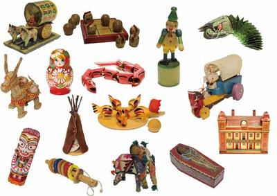 世界の珍しいおもちゃが数多く展示される