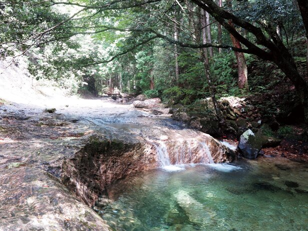 道中の、美しい川のせせらぎに癒される! / 「乳岩峡」(愛知県新城市)