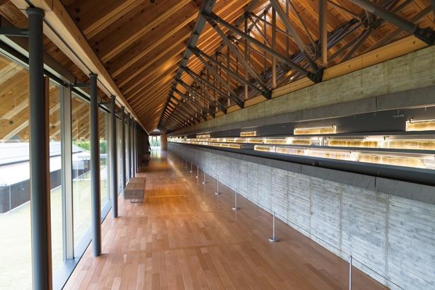 実物の年縞で作ったステンドグラスが美しい。内藤廣氏が設計した建物のデザインにも注目を / 福井県年縞博物館