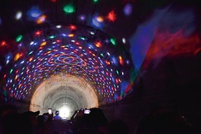 高千穂あまてらす鉄道 / 2つあるトンネルはイルミネーションで幻想的な雰囲気に