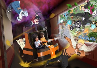 "「3Dシューティングライド 科学忍具道場」のイメージ。""忍者ガン""で的を撃ってスコアを稼ごう!"