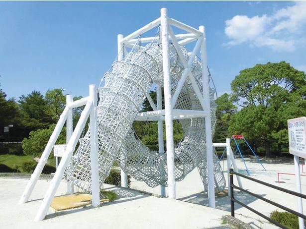 木製アスレチックは比較的難易度が高めで、小学生でも満足できる / 白水大池公園