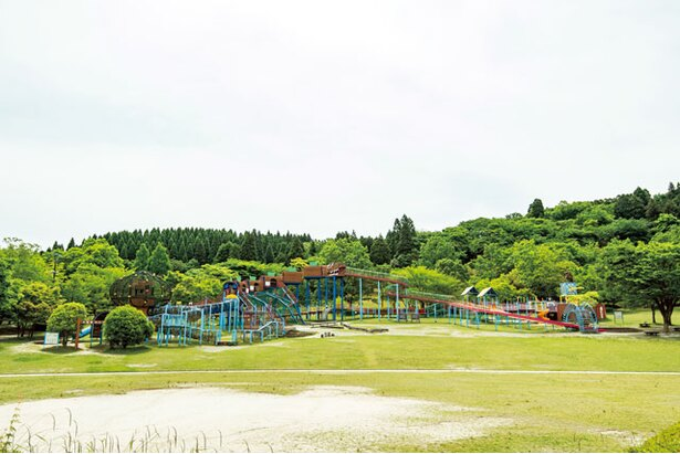 全長70mのローラー滑り台など、30種近くの遊具が集まる「冒険の森」 / 夜須高原記念の森