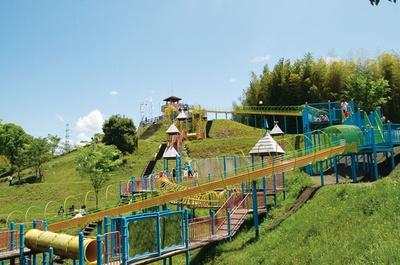全長100mのローラー滑り台など遊び所がいろいろ / 高田濃施山公園