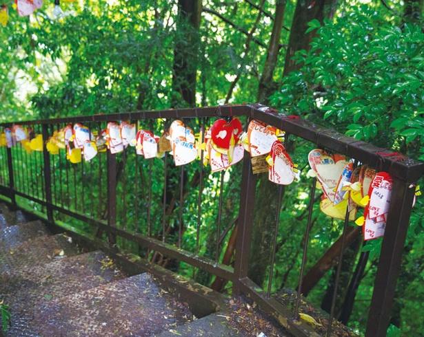 夫婦滝 / 滝へ下りていく遊歩道には、願いごとが書かれたカラフルなハートの絵馬がつるされている