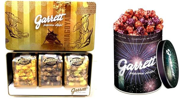 金シャチや花火のデザインがあしらわれた「名古屋GOLD BOX Specialty」(左、2000円)と「HANABI缶(クォート缶)」(右、1130円から) / ギャレット ポップコーン ショップスR
