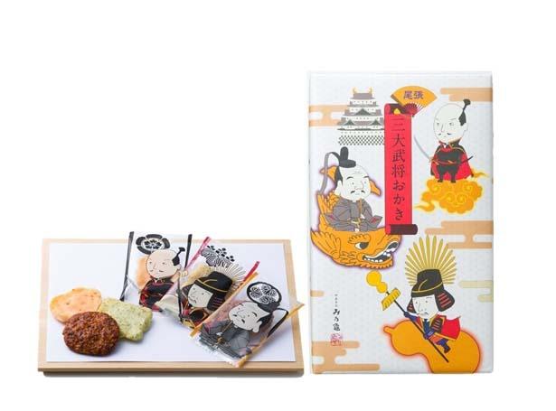 三代将軍のデザインがかわいらしい「三大武将おかき」(1080円) / み乃龜(みのかめ)