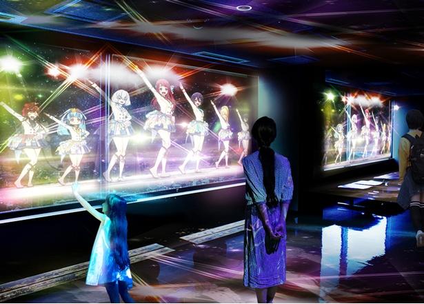 【写真を見る】フランシュシュの夜景ライブパフォーマンス(※画像は投影のイメージ。実際の内容と相違がある可能性あり)