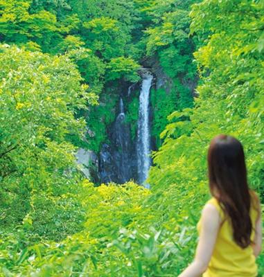 駐車場から望む八反の滝。ここから山道を5分ほど下れば滝に到着/八反の滝