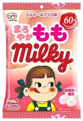 こちらは2/15発売の限定ミルキー「まろやかももミルキー袋」(210円)