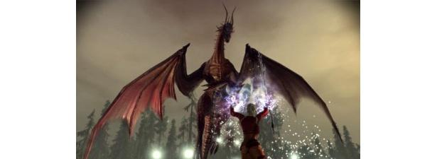 巨大なドラゴンとの戦い