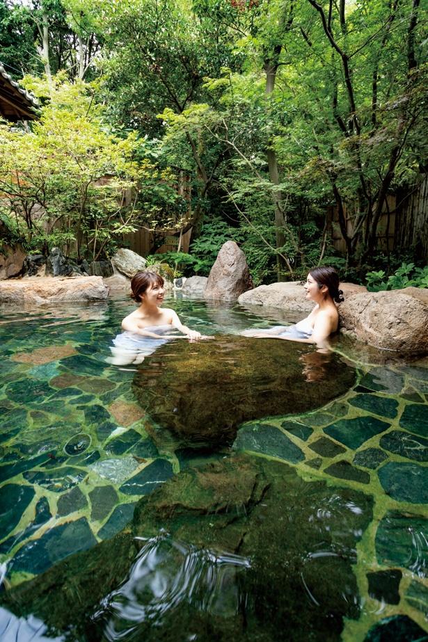 """コース01(原鶴&うきは)【湯】2つの泉質がブレンドされた""""ダブル美肌の湯""""でスベスベに"""