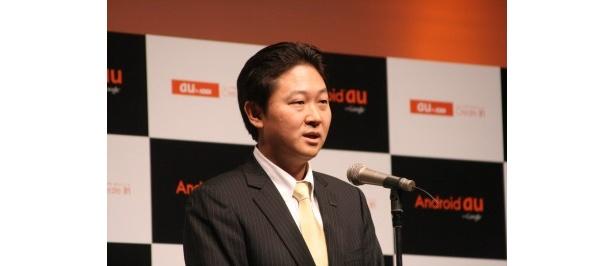 【写真】KDDI株式会社の渡辺和幸氏は、「Android auが秘める魅力、可能性を嵐のみなさんに自然な表現力で伝えていただきたかった」と嵐起用理由を