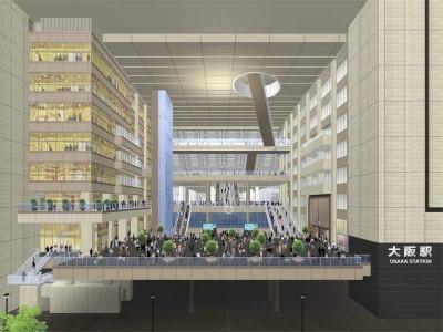 駅北側の玄関口となる「ノースゲートビル」の中央部、南北連絡通路から直結する8層吹き抜けの空間