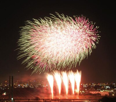 大輪の花火は迫力も満点。リズミカルな音楽連動花火のほか、ユニークな型物も登場/いたみ花火大会