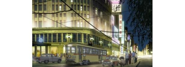 都電が街を行き交う懐かしい風景を再現している
