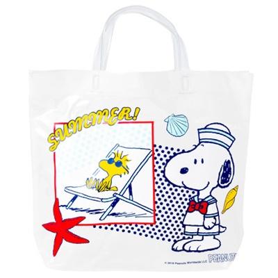 「スヌーピー ビニール角型ビーチバッグ (シロ)」(1080円)※約36×29×10cm