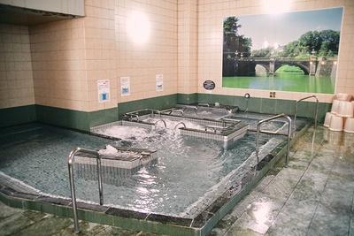 浴場は1・2階から成り、男女入れ替え制。写真は寝風呂やジェットバスなどがある1階。タイル画の代わりになぜか皇居の写真が飾られている