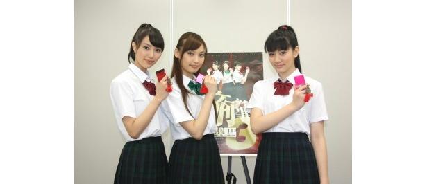 映画「ケータイ刑事THE MOVIE3」で共演する岡本あずさ、大政絢、岡本杏理(写真左から)