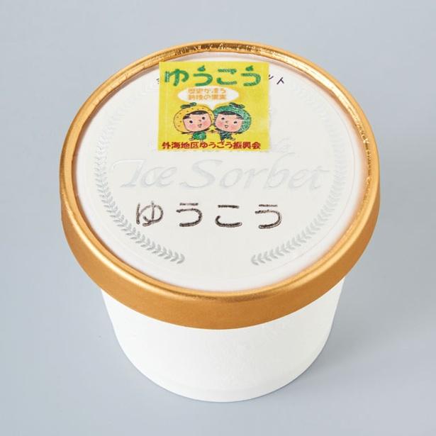 特産の柑橘「ゆうこう」で作ったゆうこうシャーベット(300円) / 道の駅 夕陽が丘 そとめ