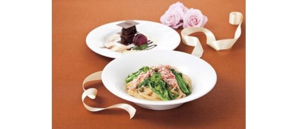 旬の菜の花とかにのスパゲティ&ミルフィーユ・オ・ショコラのバレンタイン特別セット