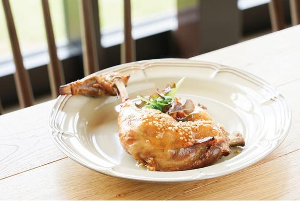 ランチはハーフブッフェスタイル。「肥後うまか赤鶏骨付きもも肉のコンフィ」(1944円) / 菊鹿ワイナリー