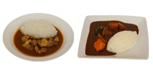 写真左から、トプカ監修「ムルギカレー」(1000円)とカヴィアル監修「チキンカレー」(1000円)
