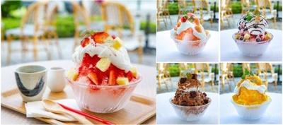 富士山の天然水を使った「夏のCold Sweets Collection ~シェフパティシエオリジナルかき氷~」(1300円~)は見た目も華やか。味は全5種類を用意