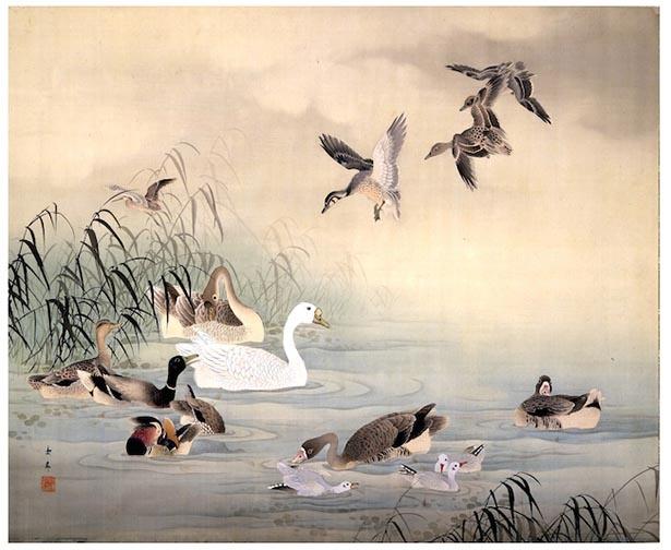 今尾景年《芦水禽図》明治年間 顔料、絹 滋賀県立近代美術館
