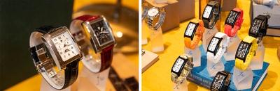 左はビジネスシーンで活躍する「MOON STAR(ムーンスター)」(税抜各4万5000円)、右は「Doctor Watch(ドクターウォッチ)」(税抜各3万3000円)のスポーツタイプ