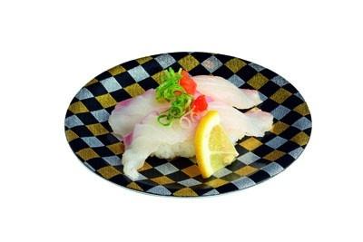 「海鮮寿司 とれとれ市場」の「クエハタ寿司」(525円)は、白身がプリッとしていて、程よくのった脂のほんわりとした甘味が楽しめる