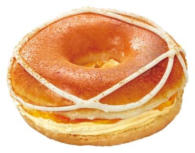 【写真を見る】リンゴとシナモンでアップルパイのような味わいに!「クリスピー・クリーム・プレミアム ブリュレ グレーズド りんご クリーム」(税抜 270円)