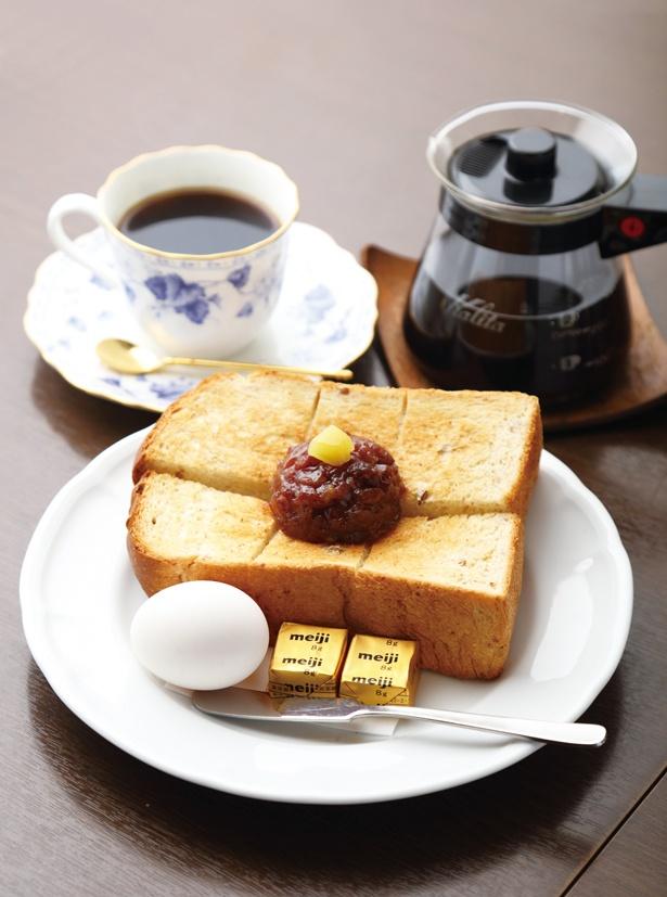「名古屋セット」(540円)の厚切りのライ麦パンは、コーヒーとの相性がいい /「加藤珈琲店」(名古屋市東区)