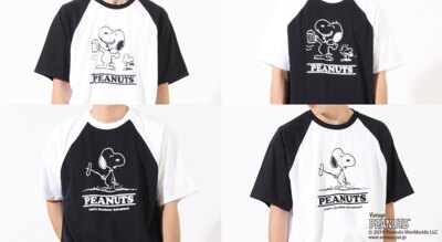 「【BURNER×PEANUTS】スヌーピー 別注 半袖プリント ラグランTシャツ」(各5292円)※サイズ:M、L、LL