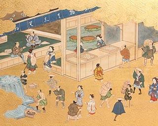 東海道風俗図屏風(部分) 岡山県立博物館蔵